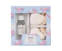 DISOK - Difusor Ambientador + Corazón En Caja Floral 20 Ml - Detalles Originales Bodas