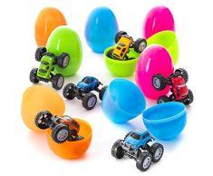 Prextex Huevos de Pascua Jumbo Rellenos de Camiones Monster Para Montar