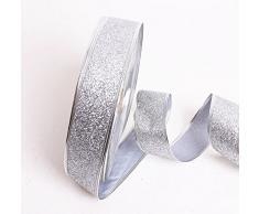 caolator rollo cinta de purpurina para la artesanía Bricolaje Navidad banda Árbol Casa Boda decoración (plata)