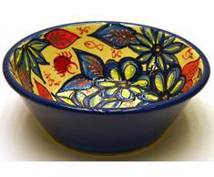 LEBRILLO Nº2 bol / plato hondo en ceramica hecho y pintado a mano con decoración flor. 25,5 cm x 25,5 cm x 9 cm (FLOR MARINA AZUL)