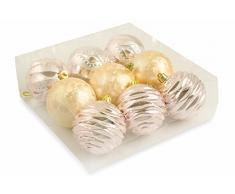 Galileo Casa 2411644 Juego 9 bolas decorativas de Navidad, PVC, dorado, 23 x 23 x 8 cm