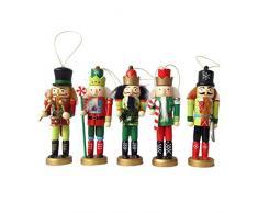 Adornos De Cascanueces De Navidad 12CM 5 Piezas De Decoración De Árbol De Navidad Decoración De Habitación De Los Niños Soldados De Marionetas De Madera
