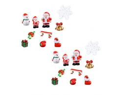 SUPVOX 20 Piezas miniaturas de Navidad figuritas Resina Ornamento Micro Paisaje artesanía Festival de Navidad Regalos decoración de la Oficina en casa