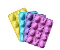 Desconocido Silicona Molde en Forma de Huevos de Pascua, 12-Cavity, DIY de repostería para Chocolate Molde Rosa/Azul/Amarillo/Morado (Color al Azar Entrega)