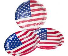 Heku Desechables de Set de Fiesta Estados Unidos con Platos, Red de Cup de Vasos, servilletas, Palillos Decorativos Siempre y una banderines, 171Â Piezas