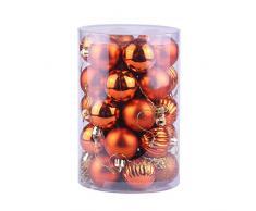 Nikgic. 34pcs Bola navideña de 6 cm de diámetro Bolas de Navidad de plástico de Colores Adorno de navida Adornos de árbol de Navidad Suministros para Fiestas Naranja