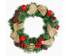 Corona de Navidad DIY guirnalda de 35 cm guirnalda de Navidad decoración de Adviento artificial corona de pared flores de paja corona de puerta para escaparate, hotel, Navidad, fiesta D