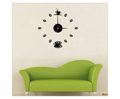 Ularma Mini reloj de pared bricolaje café Casual 3D Sticker diseño Home Decor