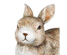 dekojohnson - Figura Decorativa de Conejo de Pascua, Figura de jardín, decoración de Pascua, Natural, marrón, Tumbado, 16 cm, sonajero Largo, Conejo