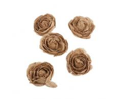 PIXNOR Arpillera de la arpillera rosa flores 5 paquete para la decoración de la boda de Navidad (marrón)