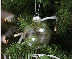 SW Wholesale 12 Bolas de Navidad de Cristal Transparente - 6 cm Decoración de árbol