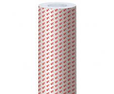Clairefontaine Alliance - Rollo de papel para regalo, 50 x 0,7 m, diseño de renos, color blanco y rojo