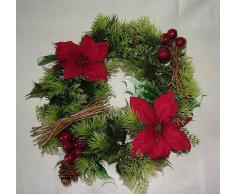 """Corona santa navideña y flor de pascua artificiales 10"""" pulgadas para uso en interior y exterior."""