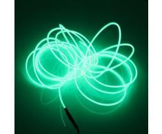 Lerway 3M EL electroluminiscente alambre LED Light Ligero Bike Inicio Jardín Cocina Habitación Baño tira flexible Glowing Lamp Lighting + caja del regulador, para el árbol de navidad Decoración, Fiesta Club, Café Restaurante (verde)