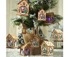 Lilideni Navidad Luminoso Casa de Madera Efecto de Cambio de Color Luz led DIY Chalet de Madera Árbol de Navidad Adornos Colgantes Festival de Papá Noel Decoraciones navideñas
