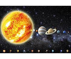 Un papel pintado que muestra el sistema solar con planetas - papel pintado fotográfico con el cosmos, el universo la galaxia - estrellas, cielo, la luna, la tierra - Póster XXL decoración mural by GREAT ART (210 x 140 cm)