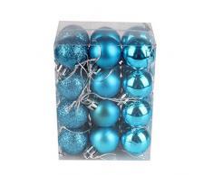 Bola de adorno,Longra 24 piezas Xmas bolas brillas elegantes de adorno de decoracion de arbol chucherias de Navidad (azul cielo)