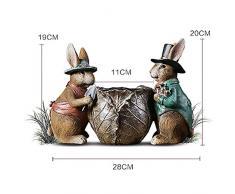 Tarjeta Amor Dibujos Animados Conejo Resina Mini Estatua Muebles para el hogar cumpleaños niños Pascua y celebración Trompeta
