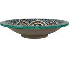 Plato grande de ceramica marroquí, hecho en Fez y pintado a mano al estilo de Meknes . Diámetro 40cm, Altura 10cm - Diseño multicolor