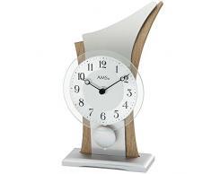 AMS 1139 Reloj de mesa Cuarzo con péndulo Madera Carcasa Cristal Mineral