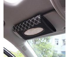niceeshop(TM) Negro/ Blanco Caja Cubierta de Pañuelos Papel Servilleta de Visera Auto de PU Cuero para Coche