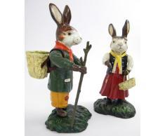 Bolso hörcompany par (conejo de Pascua) pintado a mano en hierro fundido de Pascua decoración de Pascua decoración diseño Conejito de Pascua figura decorativa