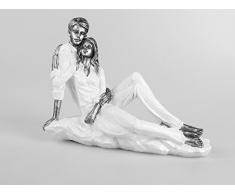 Escultura Moderna Figura decorativa Pareja de amantes de cerámica blanco/plata Largo 31 cm