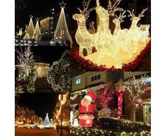 LEORX Luz de la decoración LED 10M CA 220V 8-modo impermeable ambiente 100 LEDs iluminación para la decoración de vacaciones Fiesta de boda de Navidad (Blanco Caliente)