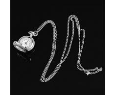 Reloj de bolsillo Plata D Antigua Cadena De Collar Cuarzo