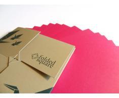 Conjunto de regalo de 100 hojas de papel para papiroflexia - Pantone Rojo rodamina (rosa)