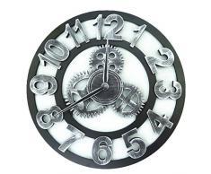 Relojes de pared,Finer Shop Diseño rústico del engranaje del arte de los numerales Reloj de pared Para Home Office Bar Cafe 45cm - Arabic Silver