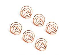 BESTONZON 24 Piezas Soporte para números de Mesa Forma de Anillo Clip para Foto Soporte de menú Clips Lugar Tarjeta Soporte para Boda Fiesta (Oro Rosa)