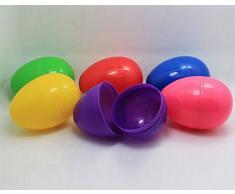 Leisial 6pcs Huevos de Colores Plástico Juguetes de Pascua DIY Crafts Kid Juguetes Dulces Ofrecer Divertidos Regalos de Fiestas para Infantiles