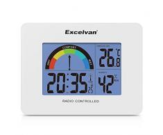 Excelvan AOK 2805A - Precisión Despertador Alarma Reloj Radio controlado Digital (Horario Ajustable Automatico, Termómetro, Calendario, Pared Montable y Soporte de escritorio), Blanco