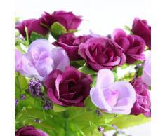 SODIAL(R) 2PCS Ramo Artificial 40 Rosas Violeta Flores para Boda Novia