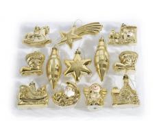 Brauns Heitmann 83827 - Adornos para árbol de Navidad (12 unidades, 5-11 cm), diseño de motivos navideños, color dorado