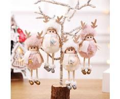 Enticerowts 1 pieza de adornos de árbol de Navidad de felpa con diseño de estrella de ángel y copo de nieve para colgar en el árbol de Navidad Star& rosa