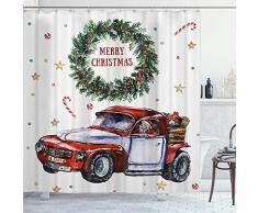 DYCBNESS Cortina de Ducha,Feliz Navidad Año Nuevo Festival Navidad Santa en Coche y Feliz Navidad Dentro de Corona de Adviento,Durable Cortina de Baño Impermeable,180 x 180 cm