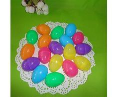 Dosige 6 Piezas Huevo de Pascua Aberturas Decorativas de plástico retorcidos Huevos Cáscara de Huevo DIY Juguetes niños Regalo de Pascua Huevos de Pascua Vacíos Colores aleatorios y Diversos 6 * 4cm