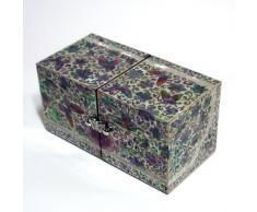 Cofre Cúbico Doble de Madreperla Diseño de Mariposas y Flores para Joyería Bisutería Caja de Madera Organizador Lacrada