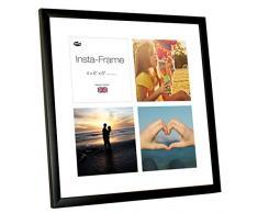 Inov8 16 x 40,64 cm Insta-Frame Marco para Instagram 4/de estampado a cuadros de fotos con paspartú blanco y blanco con borde, 2 unidades, negro satinado