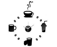 Gosear-Reloj pared Pegatina / Decoración del hogar(Estilo de Tazas de café ,Negro)