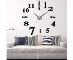 Anself ¡Moderno! DIY Reloj de pared extraíble creativo de vidrio acrílico del efecto de espejo para la decoración del hogar