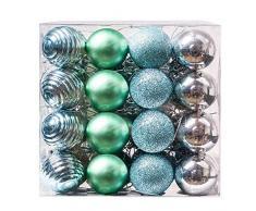 Valery Madelyn Bolas de Navidad Christmas Baubles Adornos de Bolas de Navidad de Plata y Verde Indestructible de árbol de Navidad, 40 mm, Cuerda pre-Atada (48 Piezas)