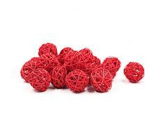 Zhi Jin Juego de 20 bolas de ratán de mimbre Natural mesa para boda para colgar Wobble bola decorativa de Navidad 3 cm