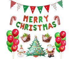 thematys Globos navideños - Juego de Globos con Guirnalda - decoración Fiesta de Navidad