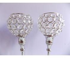 "Bengalas de 13 ""plata - portavelas de cristal para juego de mesa decoración de mesa soporte de vela con portavelas vela votiva en candelero linterna de boda,"