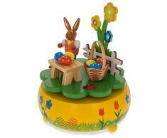"""5,25 """"Conejo Picnic con cesta de huevos de Pascua de madera giratoria caja de música figura decorativa"""
