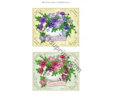 Diseño Vintage de Pascua adornos morado y rosa de Debra Laraway