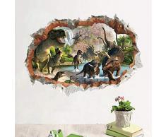 ELEBEAUTY Dinosaurios Pegatinas de Pared Etiqueta de la Pared Decoración del Hogar 3D Vinilo Papel Pintado Adhesivo Mural para Dormitorios Salones Hogar Baños Cocina Oficina Pegatina de Pared (1)